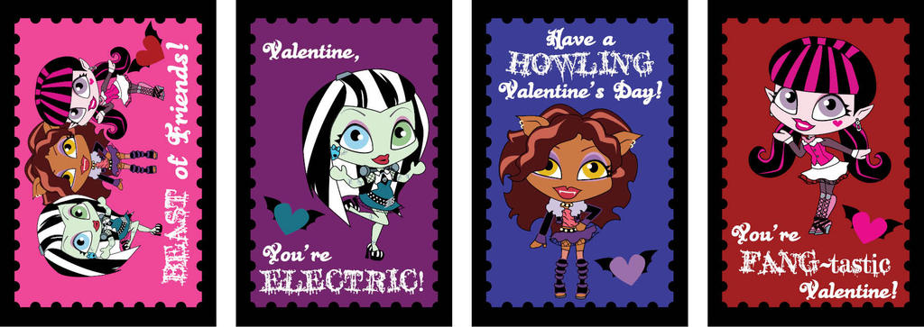 Monster High Chibi Valentines by NamekAngelIvy