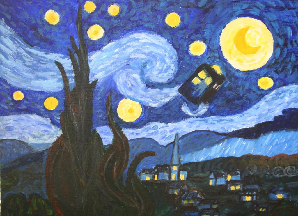 Van Gogh Starry Night Tardis Starry Night With Tardis by