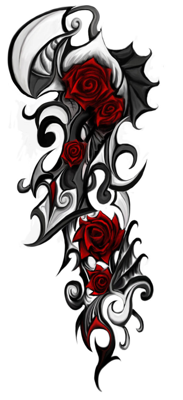 rose tribal tattoo by patrike on deviantart