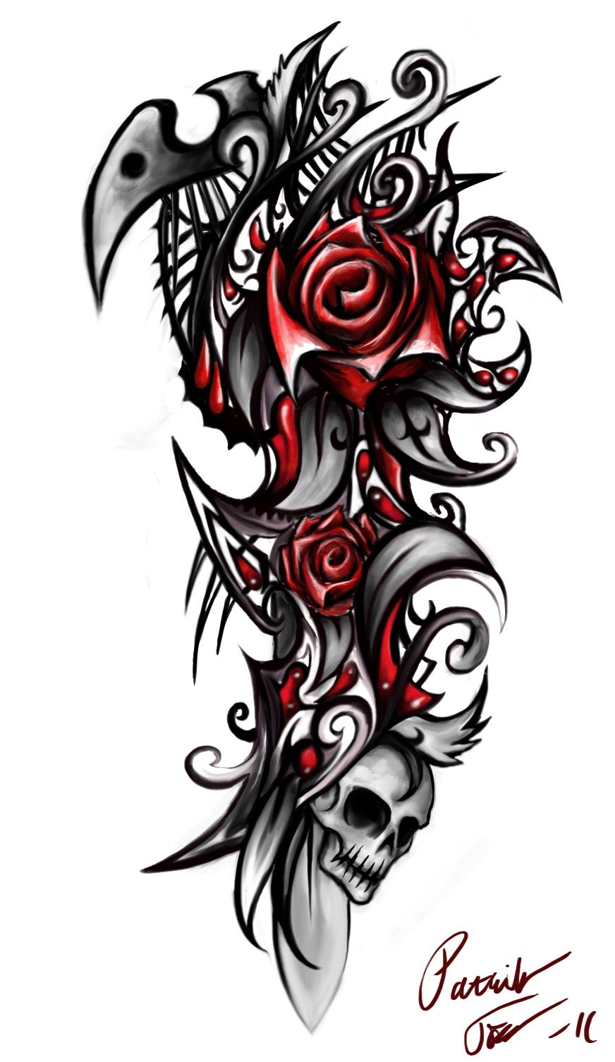 rose skull by patrike on deviantart. Black Bedroom Furniture Sets. Home Design Ideas