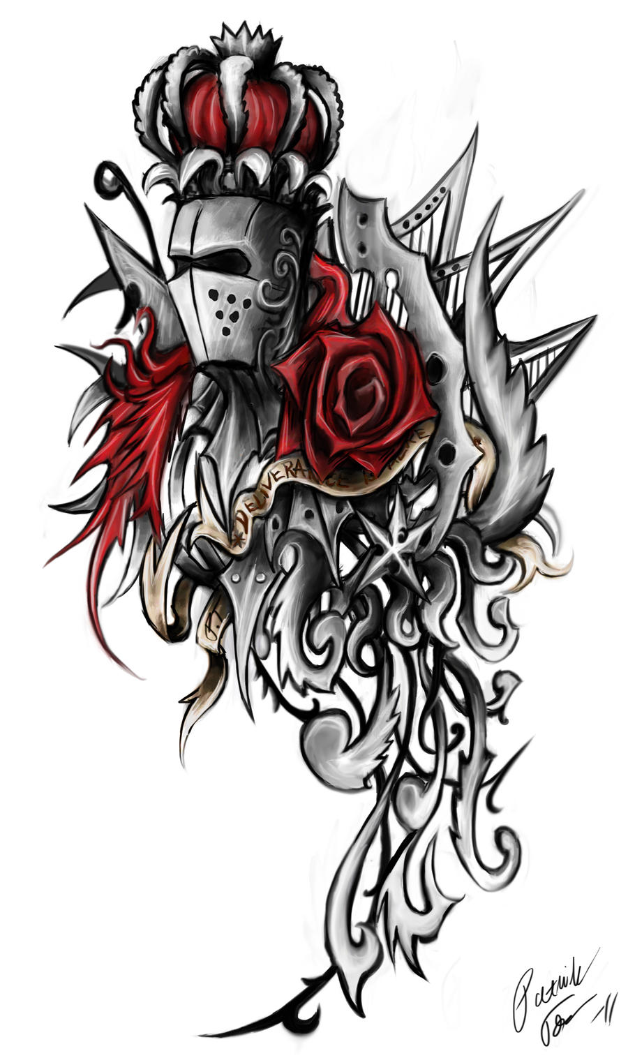 Rose knight ornament tattoo by Patrike on DeviantArt