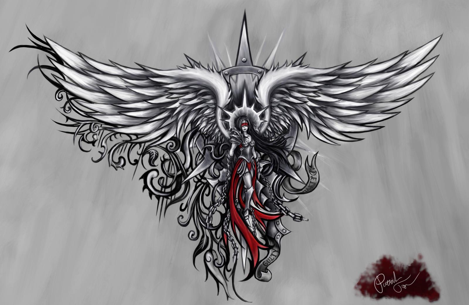 angel tattoo by patrike on deviantart. Black Bedroom Furniture Sets. Home Design Ideas