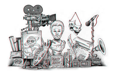 Metaphorical Self-Portrait Anaglyphic 3D Drawing