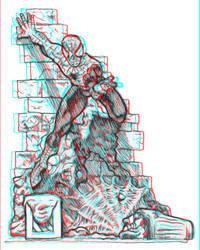 Spider-Man Anaglyphic 3D Sketch