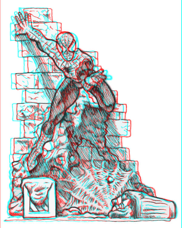 Spider-Man Anaglyphic 3D Drawing