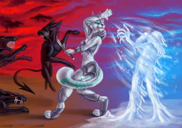 Sierra in Battle by PsychicPsycho