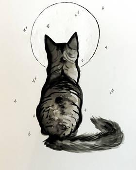 Inktober -moon gazer