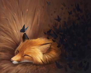 June Fox a Day - 4 butterfly fox