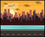 Total Drama BG: City in Sunset by Terrance-Hearts-Art