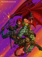 Commission Azdahag vs Deathstroke by DarkerEve