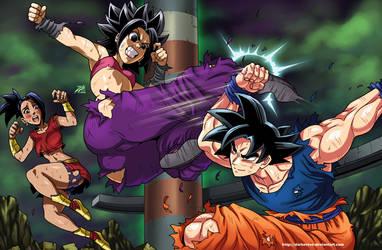 Caulifla vs Goku by DarkerEve
