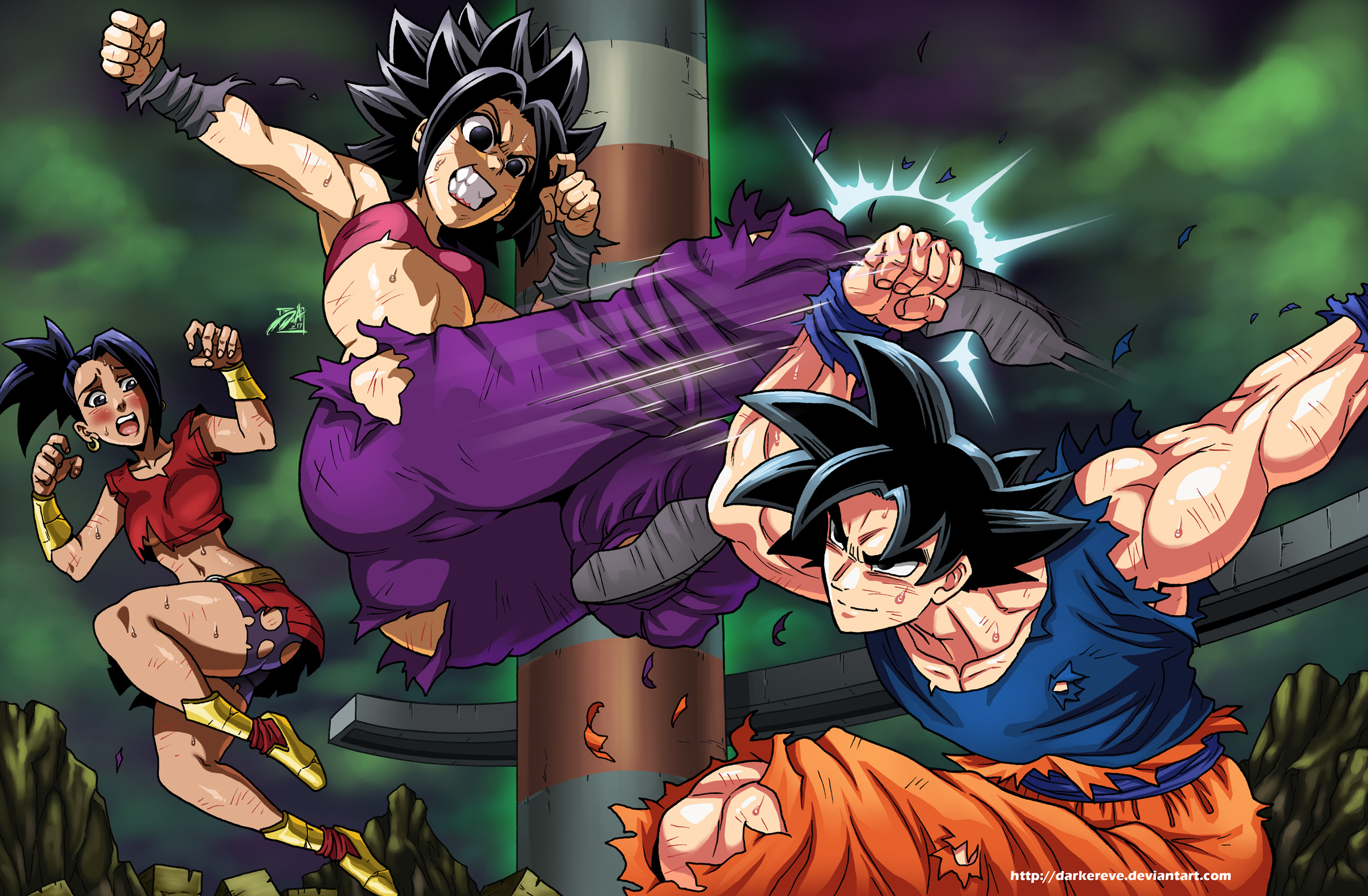 Caulifla Vs Goku By DarkerEve On DeviantArt