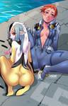 Blue Sub Mayumi and Mutio by DarkerEve