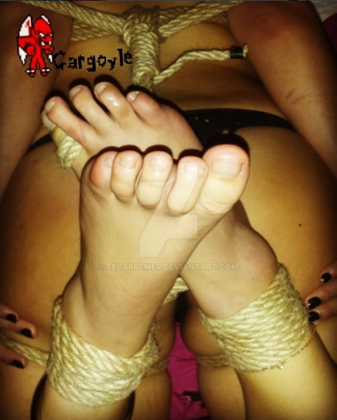 Harmie in hogtie, close up on her cute toes. by Redarremer