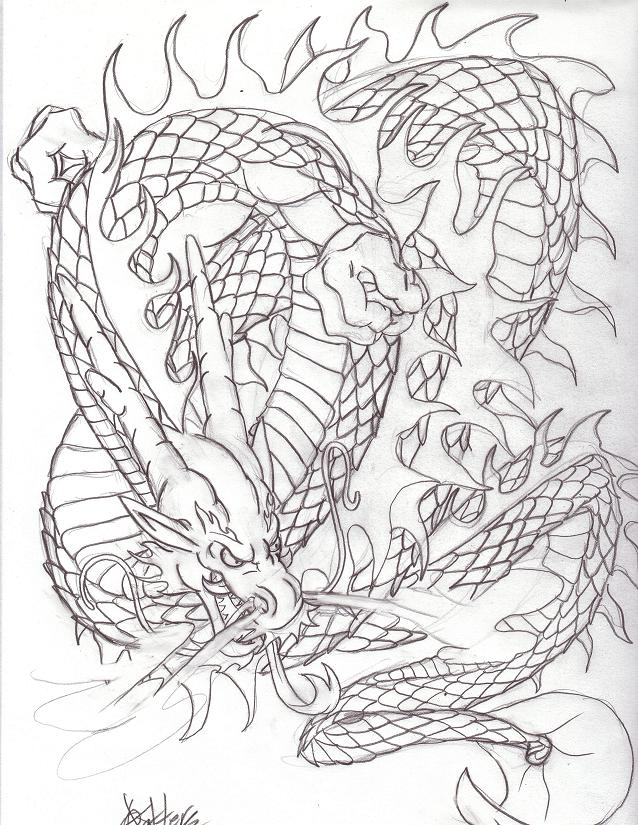 Line Work Art : Oriental dragon line work by metal ink on deviantart