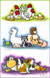 Harvest Moon Triptych by MiraKHall