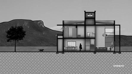 Corte Arquitetura - Projeto Casa Branca by GRTp