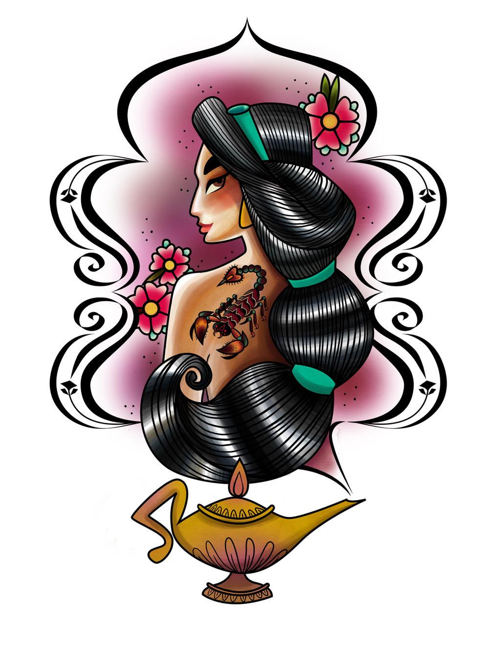 Jasmine tattoo by spicysteweddemon for Aladin tattoo salon
