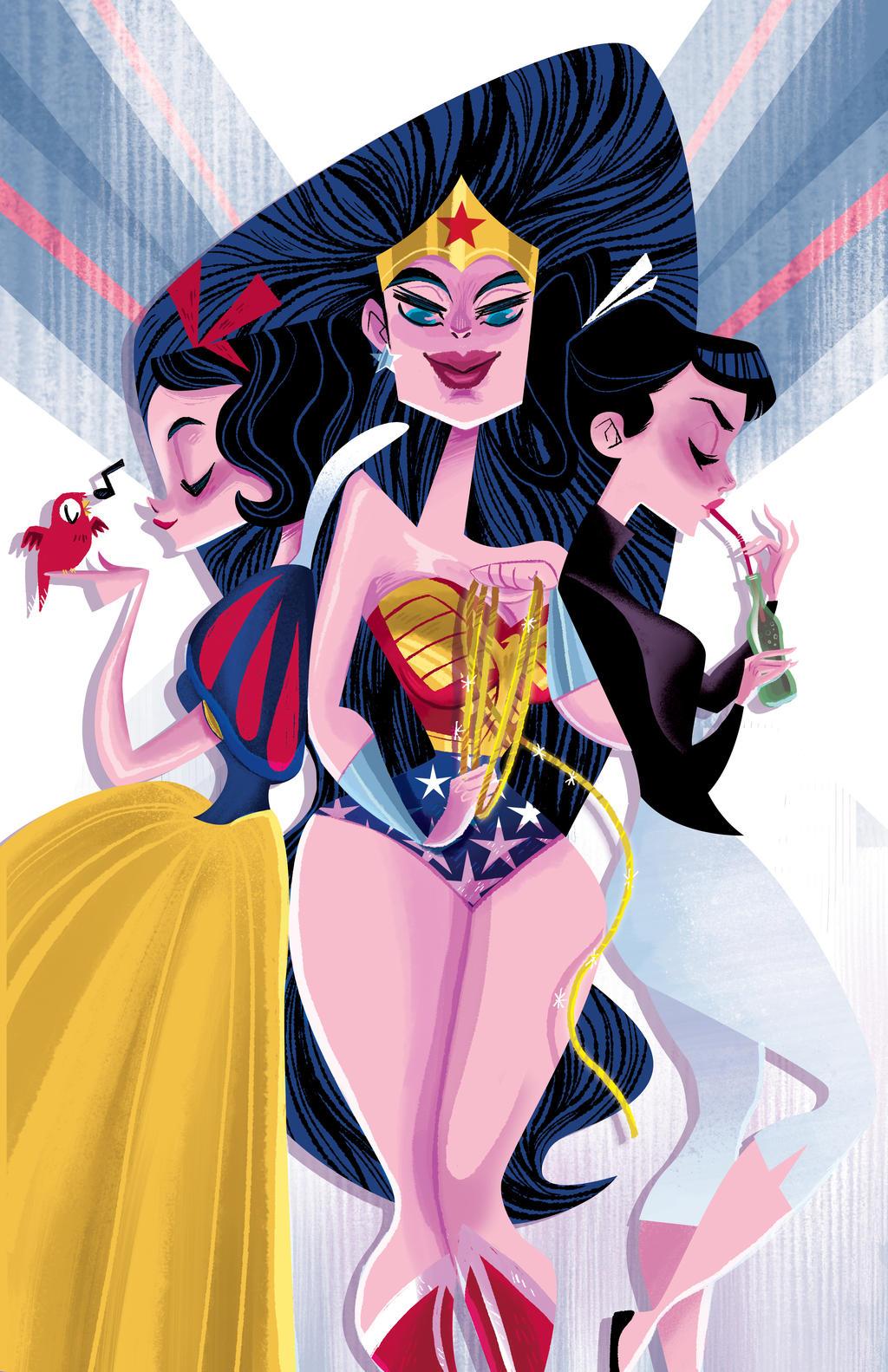 Wonder Woman, Audrey, and Snow by spicysteweddemon
