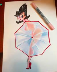 Umbrella Pinup by spicysteweddemon