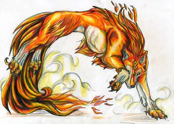 fire wolf by VioletMinim