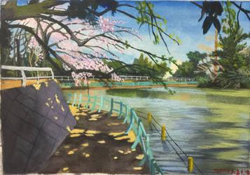 Gouache Landscape painting sketch by 7749