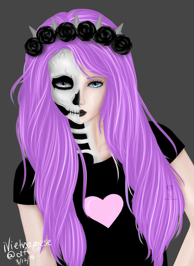 It is an image of Sizzling Pastel Goth Girl Drawing