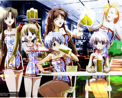 Anime Girls Drinking Beer by UrbanGraphik