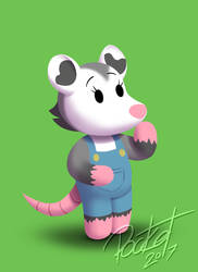 Animal Crossing style opossum by stevethepocket