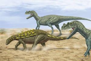 Mymoorapelta + Ceratosaurus by paleopeter