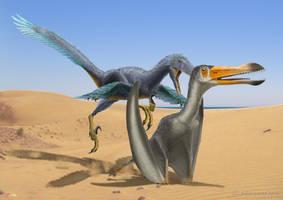 Uktenadactylus with Deinonychus by paleopeter