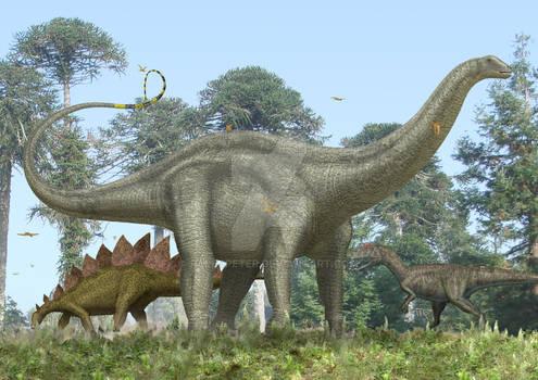 Brontosaurus, Allosaurus, Stegosaurus.