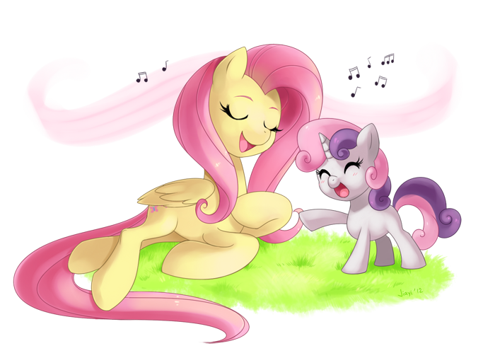 Commission: Fluttershy and Sweetie Belle by Jiayi