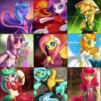 Various Ponies in Asian Dresses by Jiayi