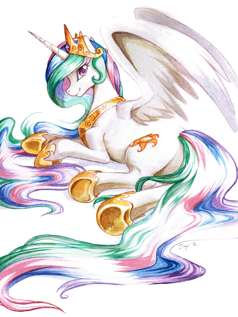 Princess Celestia in watercolour by Jiayi