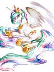 Princess Celestia in watercolour