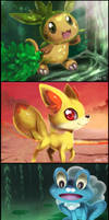 PokemonXY Starters:  Chespin, Fennekin and Froakie