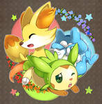Fennekin, Froakie, and Chespin