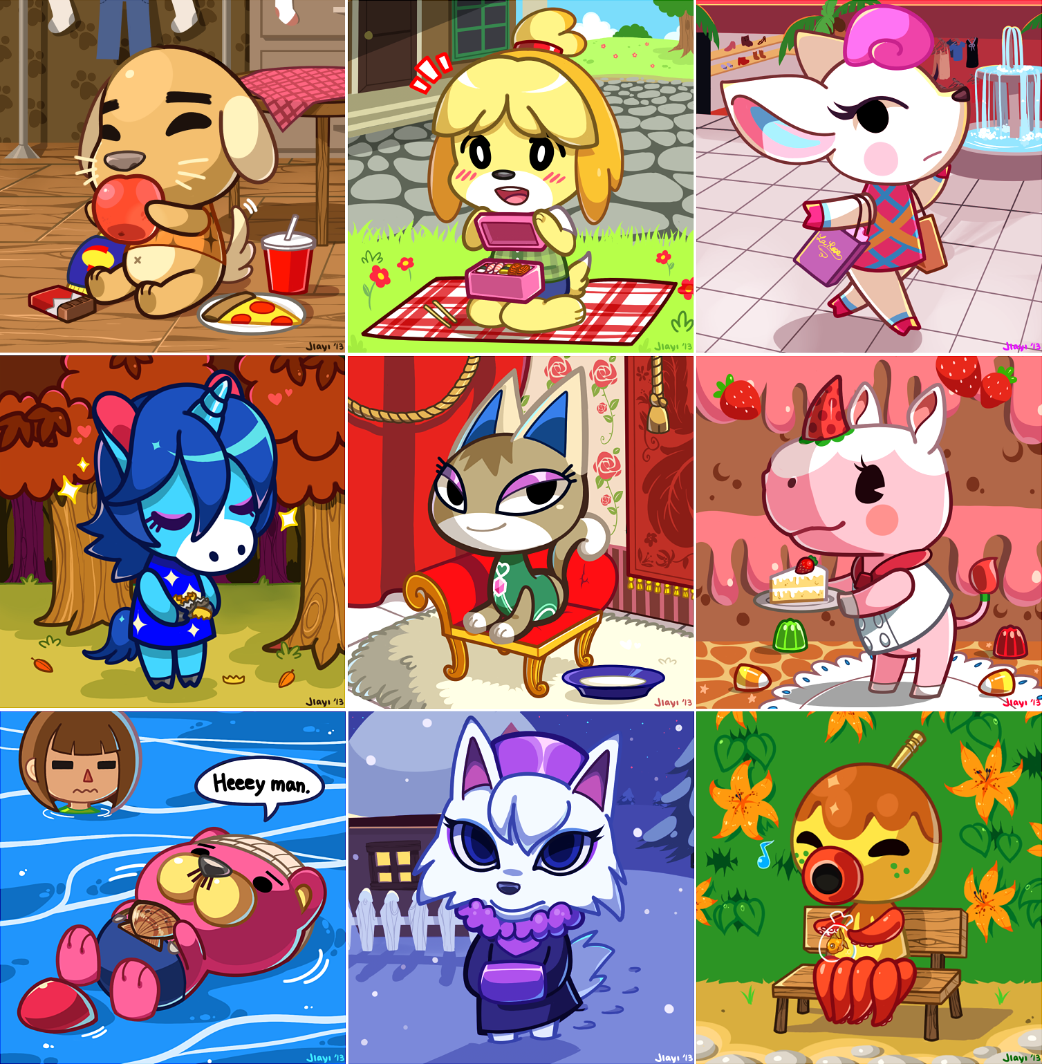 Animal Crossing New Leaf Villagers With Food Furniture