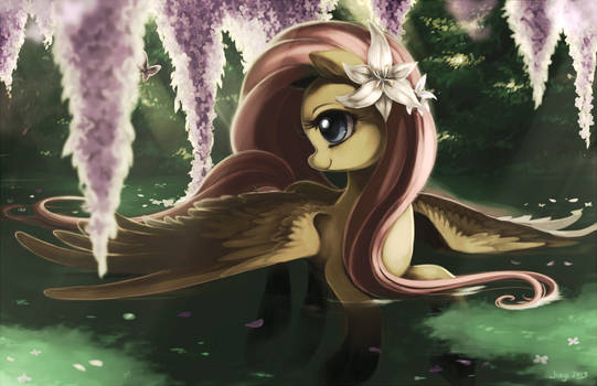 Fluttershy with lilacs