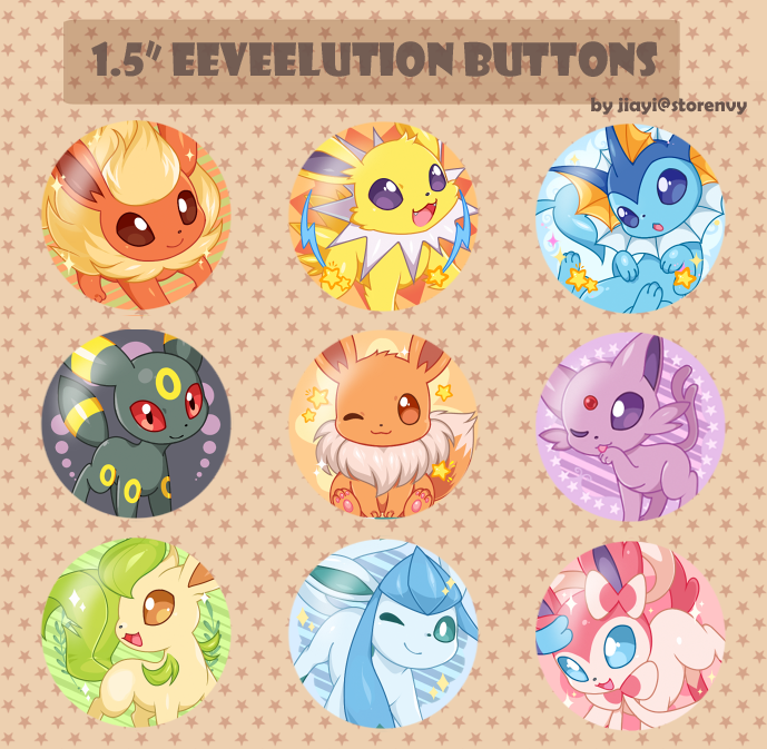 Eeveelutions Buttons by Jiayi