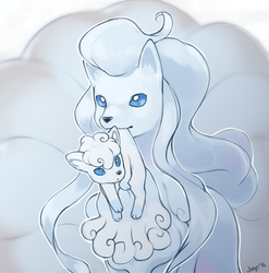 Alola Ninetales and Vulpix