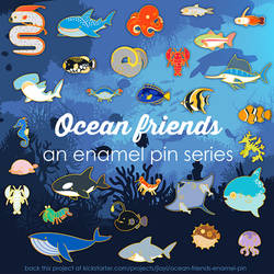 Ocean Friends enamel pin [kickstarter now live!]