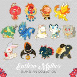 Chinese mythology enamel pins