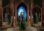 Green Sorceress Entertaining Guests