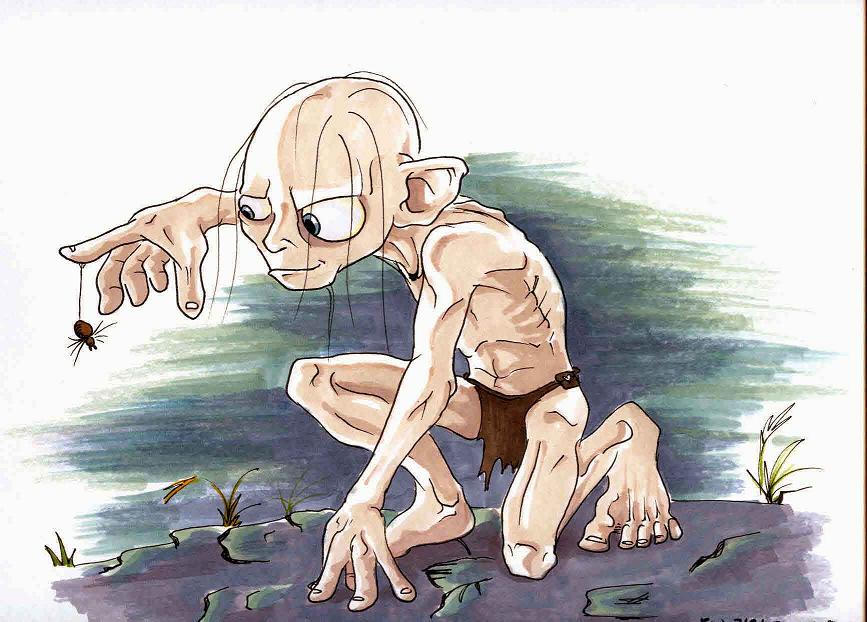 gollum and a spider by eattoast on deviantart