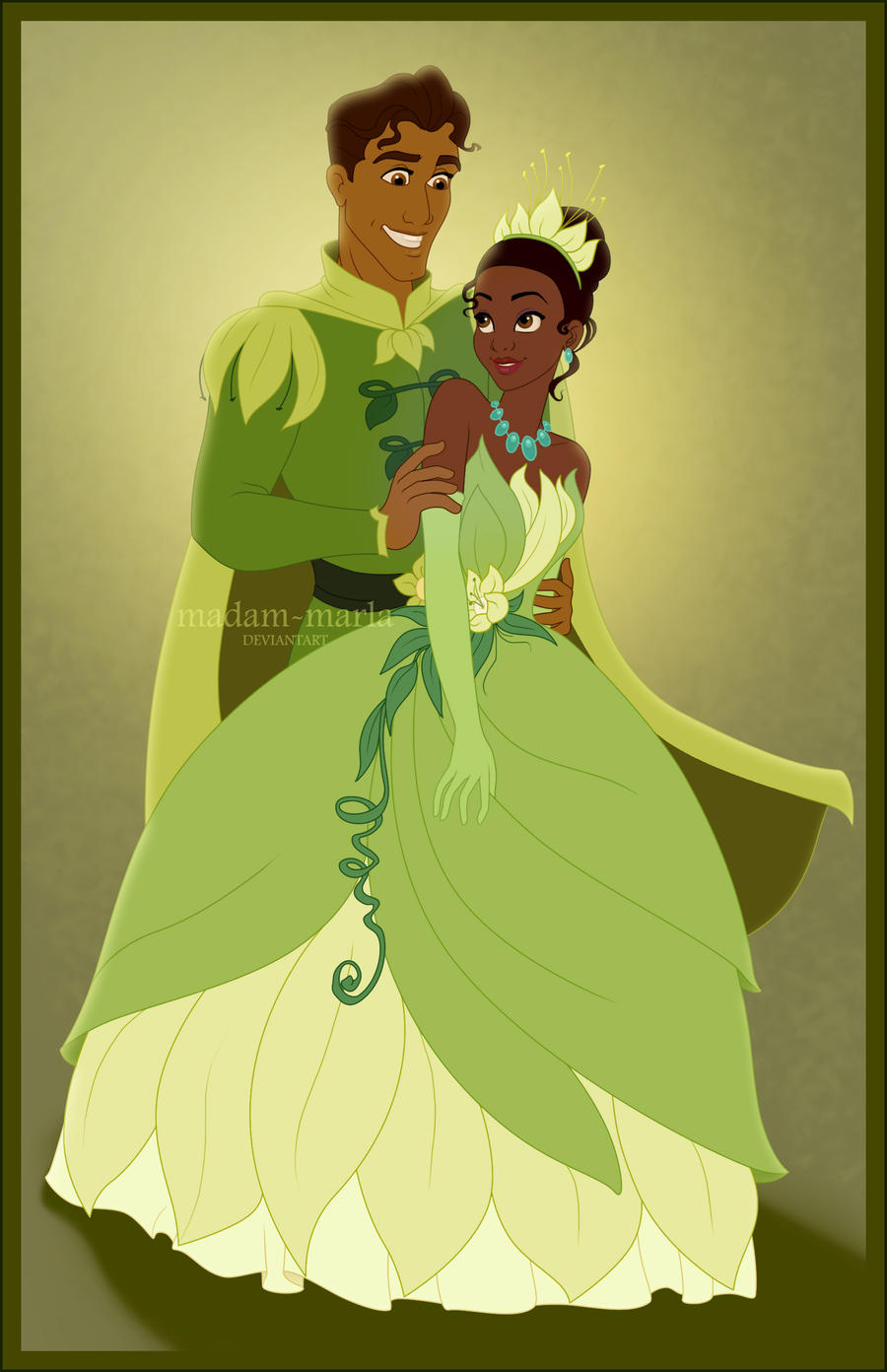 Tiana and Naveen by madam-marla on DeviantArt