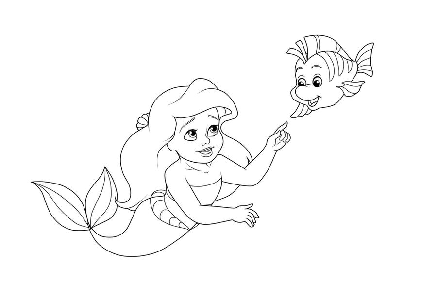 Coloring Pages Baby Ariel : Little ariel and baby flounder coloring page by madam