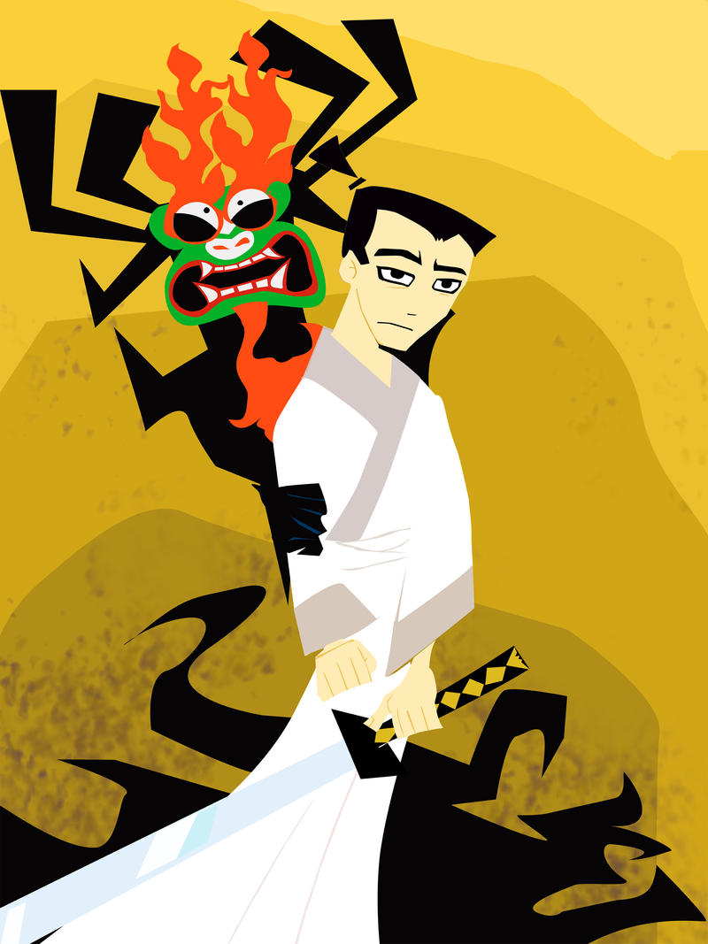 Scared Aku, bored jack by Kna