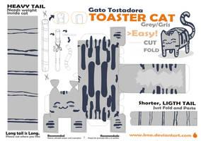 papercraft gato tostadora gris by Kna